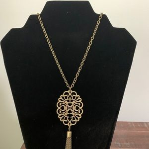 Long bronze medallion necklace